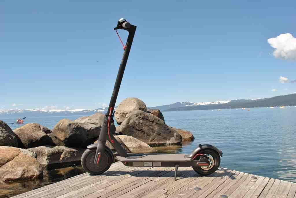 Xiaomi Mi M365 on dock of Lake Tahoe