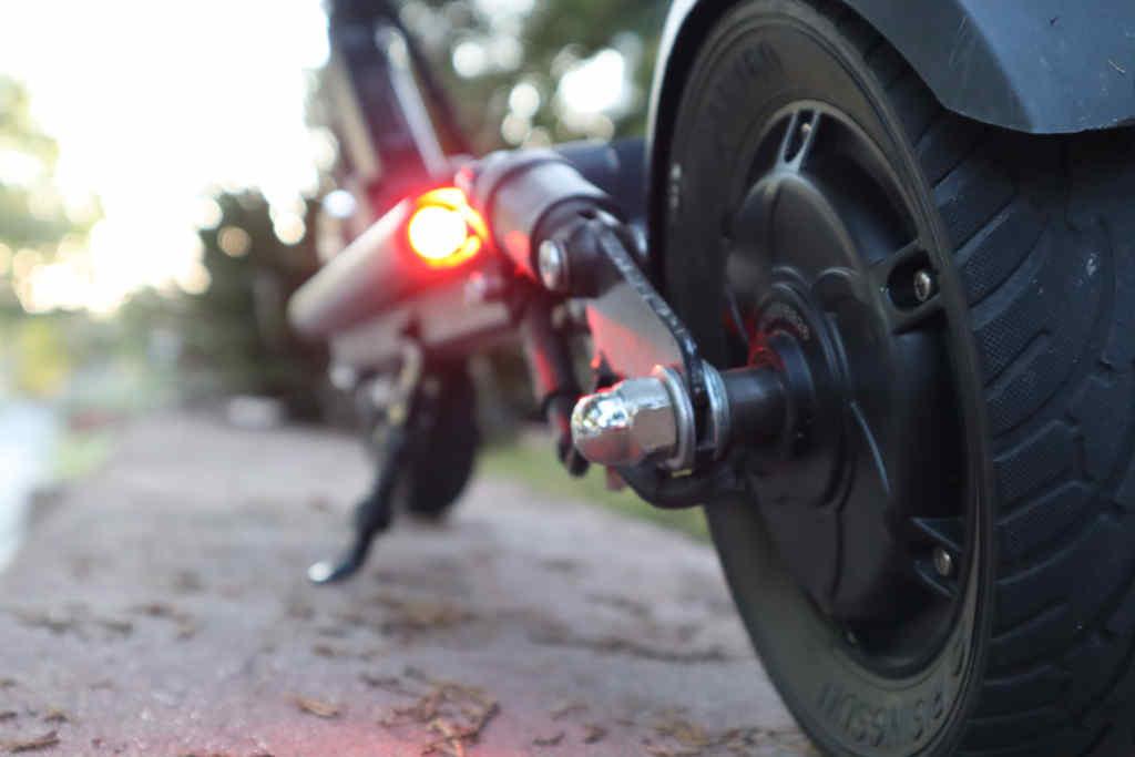 Closeup of Horizon electric scooter rear tire